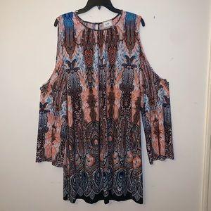 Eci Multi color flowy dress w/ long shoulder cuts.